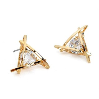 Coloured ear studs with big crystal in triangle top