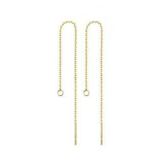 Gold earring with chain and hoop for dangles