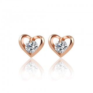 Heart shaped ear stud with big crystal