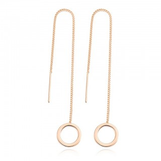 Earring with chain and circle dangle