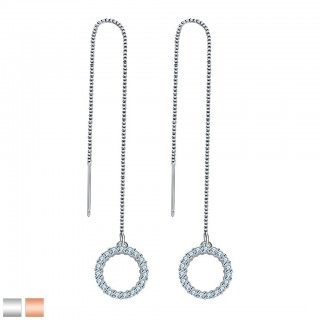 Earring with chain and round dangle with crystals gems