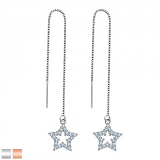 Earring with chain and star dangle with crystals gems