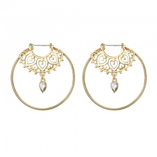Gold coloured ear hoops with decorating and crystal dangle