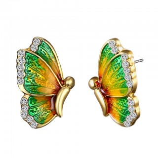Pair ear studs with colourful butterfly