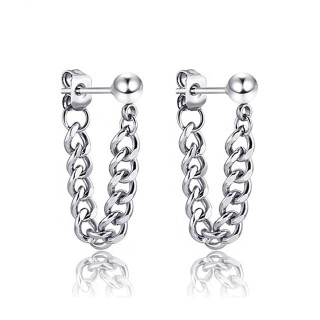 Silver coloured ear studs with chain pendant