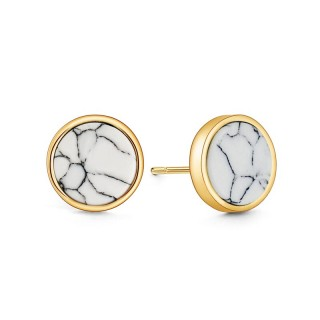 Round gold ear stud with marbled white stone
