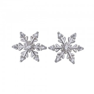 Silver ear studs with snowflake design and crystals