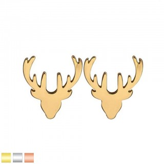 Pair of coloured ear studs with reindeer design
