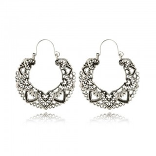 Silver coloured ear hoops with antique hollowed design