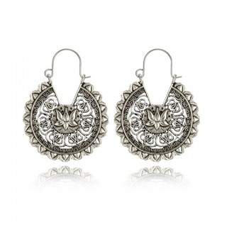 Silver coloured antique lotus flower designed earrings