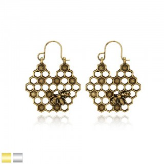 Coloured antique earrings with vintage honeycomb design