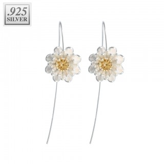 Long silver flower shaped drooping earrings