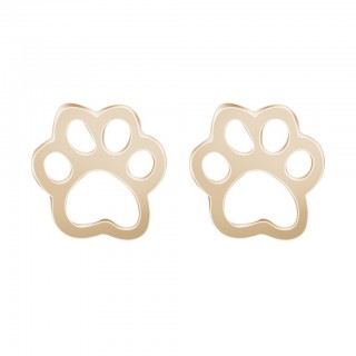 Cute animal paw shaped gold earring pair