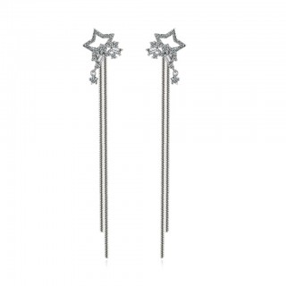 Pair ear studs with crystal stars and long bars