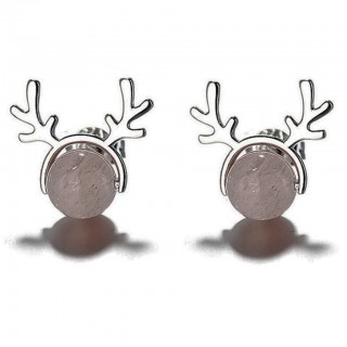 Pair of deer antler studs with grey bead