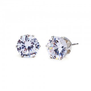 Pair of ear studs with clear prong set round crystal