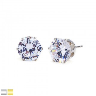 Pair ear studs with clear prong set round crystal