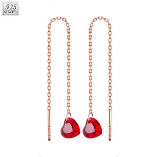 Long rose gold ear chains with red crystal heart