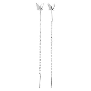 Sterling silver threader earrings with butterfly