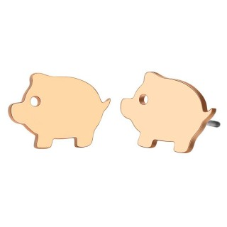 Tiny farm pig shaped gold ear studs