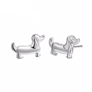 Tiny dog shaped silver earring pair
