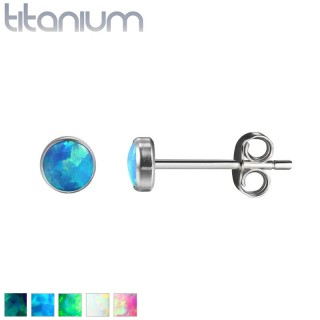 Pair of solid titanium ear studs with opal stone