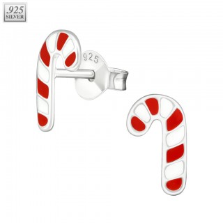 Silver candy cane ear studs with epoxy layer