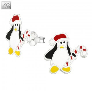 Sterling silver ear studs penguin with christmas hat