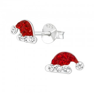 Silver ear studs santa hat with Swarovski crystals