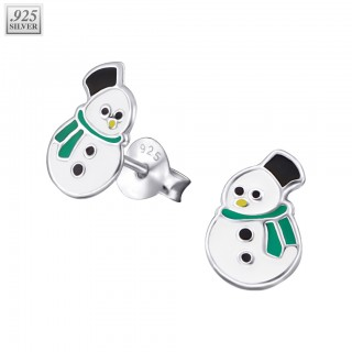 Pair of silver ear studs with snowman