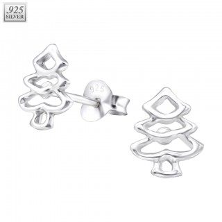Pair of sterling silver christmas tree ear studs