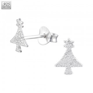 Pair of silver ear studs with solid christmas tree