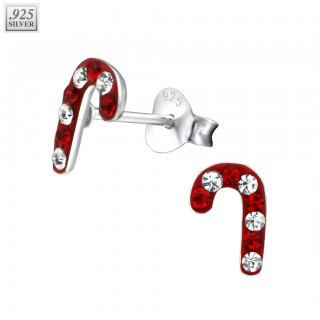 Silver candy cane ear studs with crystals
