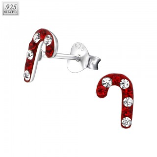 Silver candy cane ear studs with Swarovski crystals