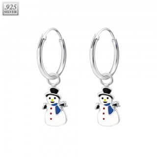 Silver ear hoops snowman with epoxy layer