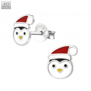 Pair of silver ear studs with penguin face
