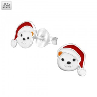 Pair of silver ear studs with polar bear face