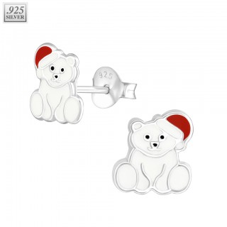 Silver ear studs polar bear with christmas hat
