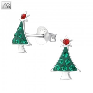 Silver ear studs christmas tree with epoxy layer