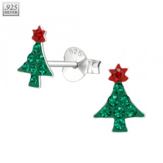Silver ear studs christmas tree with Swarovski crystals