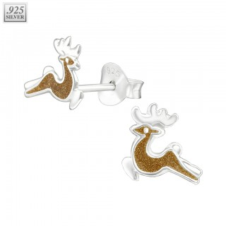 Silver ear studs reindeer with epoxy layer