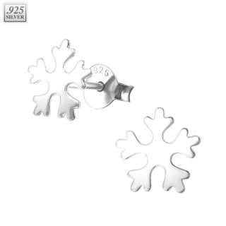 Pair of sterling silver snowflake ear studs