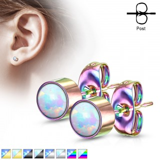 Pair ear studs with coloured round bezel set opal