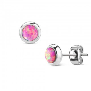 Pair ear studs with coloured opal stone