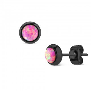 Pair black ear studs with coloured opal stone