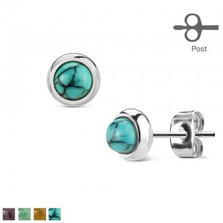 Silver earrings with round stone