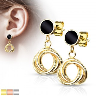 Pair of rounded dangling intertwined ear studs