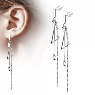Drop Earrings with Abstract shape and dangling gemstone