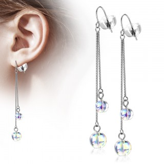 Drop Earrings with double Chains and Iridescent Beads
