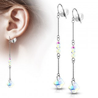 Drop Earrings with various Iridescent Beads